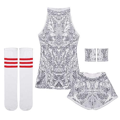 Yeahdor Big Girls' Hip Hop Dance Costumes Kids Shiny Sequins Jazz Performance Cheerleading Uniform Clothing Set Silver 7-8