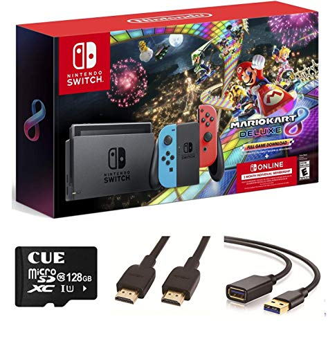 Nintendo Switch with Neon Blue and Neon Red Joy-Con - Mario Kart 8 Deluxe(Full Game Download) - 3 Month Nintendo Switch Online Membership, Christmas, w/CUE Accessories