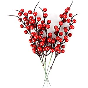 Lovehut 30 Pack Artificial Red Berry Stems, 10.2 Inch Red Berry Picks Christmas Red Berries Artificial Fruit Berry Holly Flower Branch Home Holiday Wedding Party DIY Christmas Tree Crafts Decor