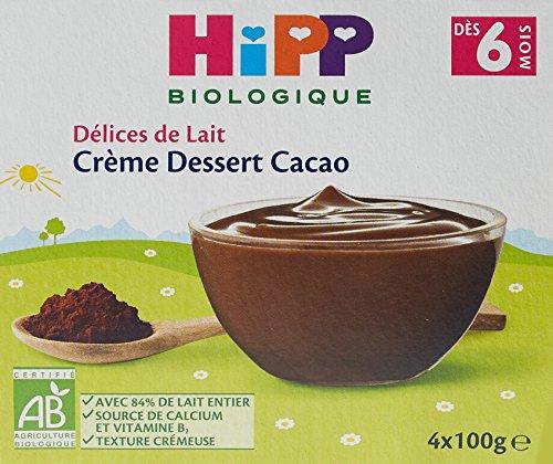 Hipp Biologique Délices de Lait Crème Dessert Cacao dès 6 mois - 24 coupelles de 100 g
