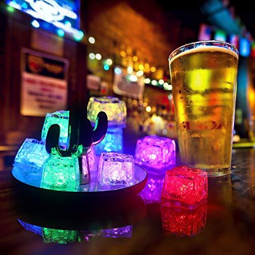 Valeny 12 Stücke LED-Eiswürfel Zum Aufleuchten für Getränke Wein Whisky Trinken Farbwechsel Licht Multicolor, LED-Eiswürfel Leuchtend für Party, Hochzeit, Bars, Club Dekoration