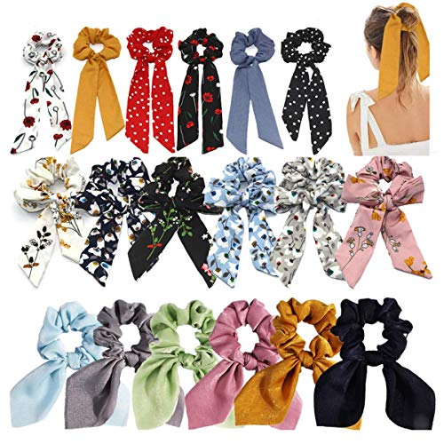 18 PCS Hair Scrunchies Pearl for Women Girl, Fashion Bow Hair Scarf and Vintage Elastic Bandana Hair Bands Ties Accessories for Christmas Gift