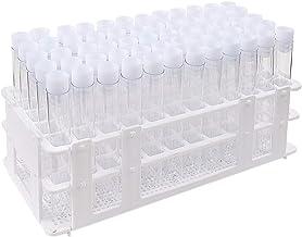 DEPEPE 60pcs لوله های آزمایشگاهی پلاستیکی با کلاه و رک، 16x100mm، برای آزمایش های علمی، منسوجات مخازن ذخیره سازی مایع، دکوراسیون حزب علمی تم