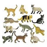 YeahiBaby 12pcs Cat Figurines Assorted Cat Toys Miniature Figura Animale Gattino Paesaggio Ornamento Decorazioni Gatto Ragazza Giocattolo Figure per Bambini Ragazzi Ragazze Bambini
