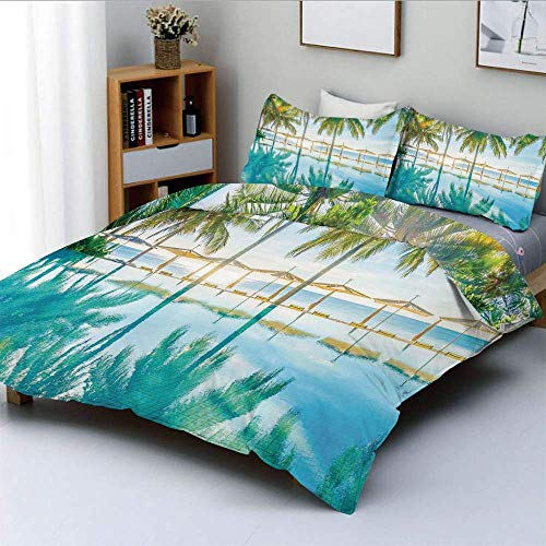Duvet Cover Set,Pool by the Beach with Seasonal Eden Hot Sunny Humid Coastal Bay Photography Decorative 3 Piece Bedding Set with 2 Pillow Sham,Green Blue,Best Gift For Kids & Ad
