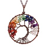 E-clickstore Tree of Life Seven Chakra Pendant Amethyst Rose Quartz Healing Crystal Necklace Gemstone Chakra Jewelry with 7 chakra in Copper Wire