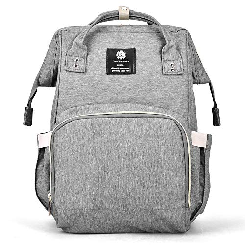 Diaper Bag Backpack - Large Capacity Baby Diaper Bag with Anti-Water Material, Wet/Dry Bag, Insulated Pockets, Stylish and Durable, Multi-Functional Travel Knapsack, Grey