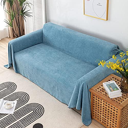 Funda para Sofá Cubre de Sillón Protector Funda de sofá completa de color sólido impermeable azul claro para todas las estaciones, cojín de sofá con todo incluido Protección de muebles 180 * 230 cm