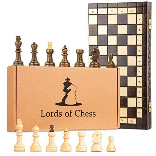 Scacchiera in Legno Professionale Scacchi con 100 campi - Chess, Scacchiere Set Portatile Gioco da Viaggio per Adulti Bambini 40 x 40 cm