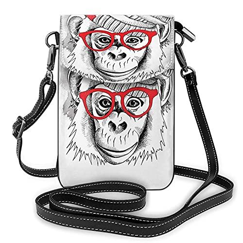 Lindo mono bebé con gafas de impresión pequeño monedero del teléfono celular pequeño bolso bandolera mini bolsa de teléfono celular bolsa de hombro