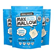 Know Brainer Max Mallow Classic Vanilla   Guilt-Free & Zero Sugar Marshmallows - Low Carb, Zero Fat, Gluten-Free & Ketogenic   Marshmallow Fueled with Collagen, MCT Oil & Monkfruit   Pack of 3 (9.9oz)