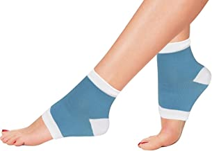 Bcurb Heel Gel Lined Socks Soft Silky Moisturizing Open Toe Comfy Ankle Sock to Heal Dry, Cracked Skin and Callus Helps Plantar Fasciitis (Blue/White - 1 Pair, Medium)