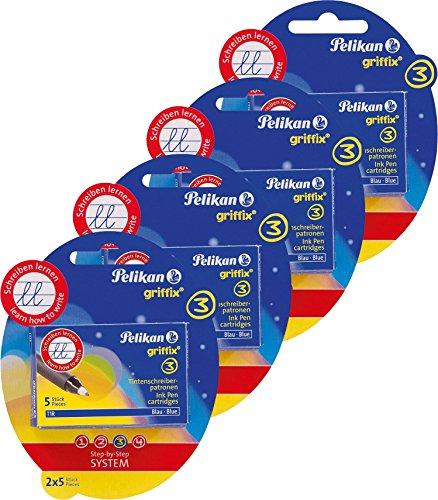 4 Packungen Pelikan 960575 - Griffix Tintenschreiber Patronen 2 x 2er Blister