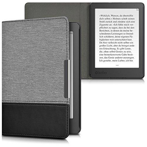 kwmobile Funda de e-Book Compatible con Kobo Aura Edition 2 -Case de Cuero sintético Gris/Negro