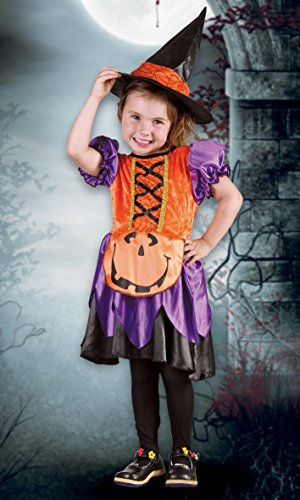 Boland- Costume Bambina Streghetta Pumpkin Witch, Arancione/Viola, 3-4 anni, 78088