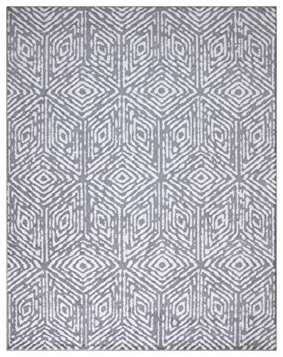 "Diagona Designs Contemporary Geometric Cubes Design Modern 8' X 10' Area Rug, 94"" W x 118"" L, Gray/Ivory (JAS2193)"