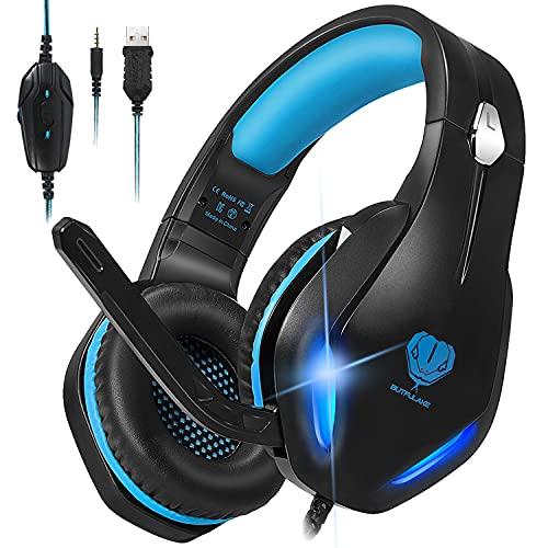 Stynice Cascos Gaming con Microfono Compatible con PS4 / PC/Xbox One/Laptop/Mac/Mobile - Auriculares para estéreo Juegos con Cable Jack de 3.5 mm y luz LED (Azul)