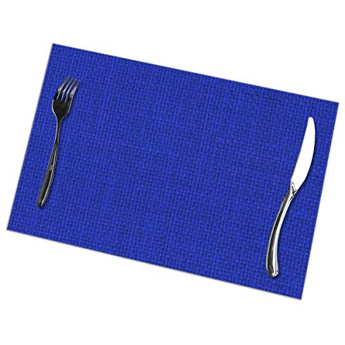 Natuurlijke geweven Royal Blue jute zakdoek Placemat wasbaar voor keuken diner tafelmat, gemakkelijk te reinigen gemakkelijk te vouwen plaats Mat 12x18 Inch Set van 6