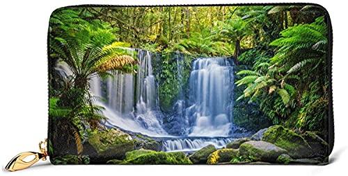 Damen Geldbörsen Mit Rundum-Reißverschluss Clutch Geldbörse Kartenhalter Organizer-Schwarz-Einheitsgröße, Grüne Tropische Pflanzen Und Wasserfall Bedruckte Ledergeldbörse