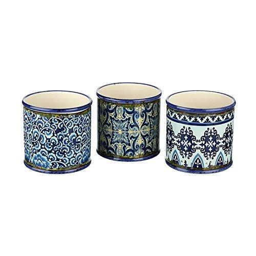 Heavensends FDT019B Cache-pot rond style shabby chic Maroc 13 x 13 x 12,5 cm - prix par pièce!