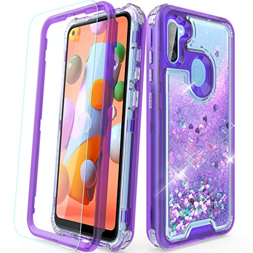 Case for Samsung A11 Phone, Samsung A11 Case with Screen Protector, Cute Glitter Shockproof with TPU Bumper and PC Back Protective Armor Phone Cover for Android SM-A115U -Purple