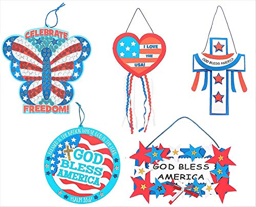 Patriotic Hanging Signs Craft Kits Set - Heart, Cross, Butterfly & More! - Kid's Crafts Children's Classroom Activities - Memorial Day, 4th of July, Independence Veterans Flag Day Decorations Decor