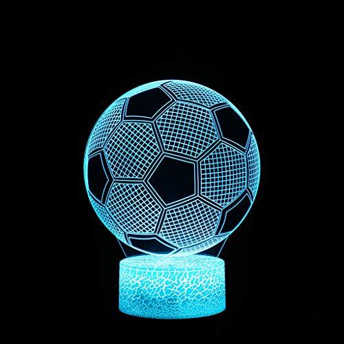 Nachtlicht, Fußball LED 3D beleuchtete Lampe optische Schreibtisch Nachtlicht mit 7 Farbwechsel, LED-Licht Dekoartikel Wohnaccessoires Accessoires