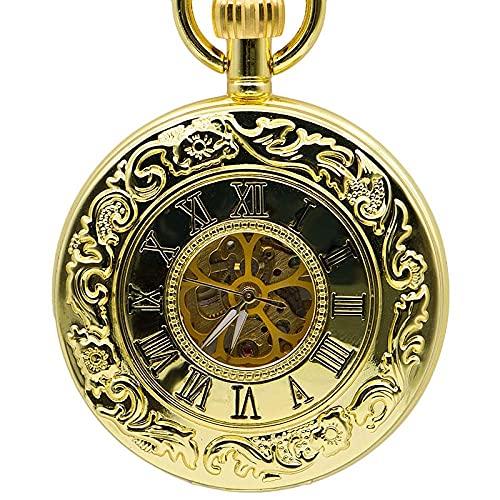 FWEOOFN Reloj de Bolsillo, Caja Dorada Retro Esqueleto Vintage número Romano Esfera de Flores Hombres mecánico con Cadena de Regalo