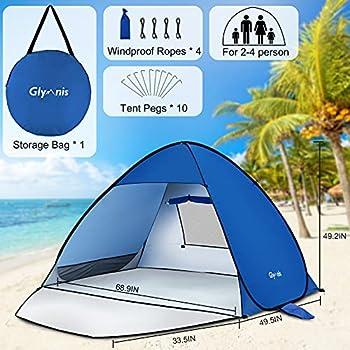 Glymnis Tente de Plage Pop Up pour 2-4 Personnes Abris de Plage avec Porte à Glissière Protection UV 50+ Contre Le Vent
