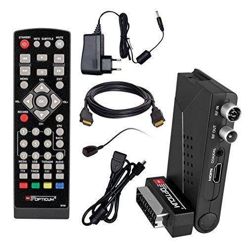HB DIGITAL DVB-T/T2 Set: Opticum HD AX Lion Air 2 HEVC DVB-T/T2 Receiver + HDMI Kabel mit vergoldeten Anschlüssen *** Full HD, HEVC/H.265, HDTV, HDMI, SCART, USB 2.0 DVBT DVBT2 DVB-T2
