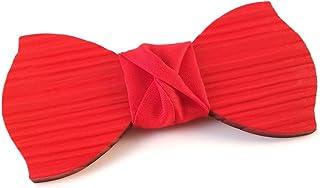 GIGETTO Papillon in legno spazzolato,con nodo in tessuto rosso, cinturino regolabile