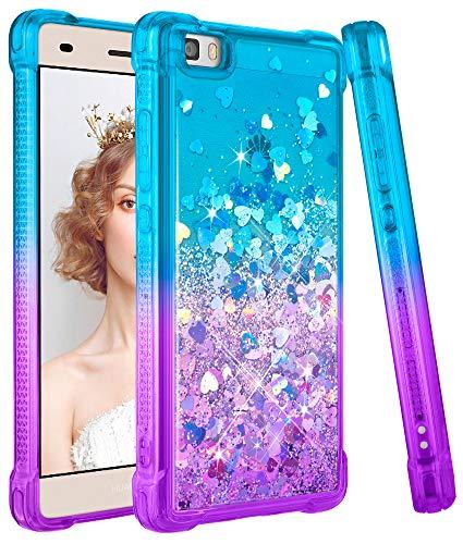 wlooo Funda para Huawei P8 Lite, Fundas Huawei P8 Lite, Glitter liquida...
