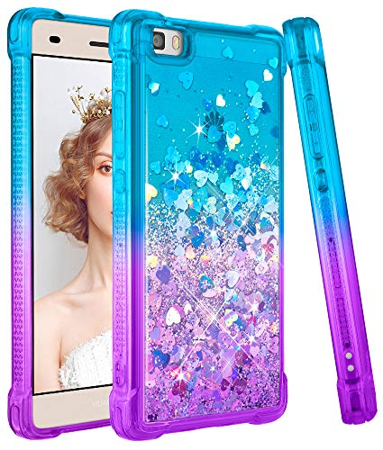 wlooo Glitzer Hülle kompatibel mit Huawei P8 Lite, handyhülle Huawei P8 Lite Glitzer, Flüssig Treibsand Glitter Gradient Quicksand Weich TPU Bumper Silikon Schutzhülle Case Cover (Teal Violet)