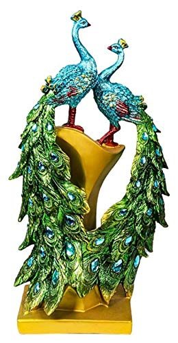 AINIYF Estatuas de Resina de Pavo Real para la decoración del hogar, esculturas de Arte en Interiores de pie para la Oficina en el hogar Decoraciones de balcón, Regalos de Boda para Dormir