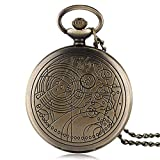WMYATING Reloj de bolsillo de cuarzo negro con diseño exquisito, hermoso, elegante y único, para hombres y mujeres.