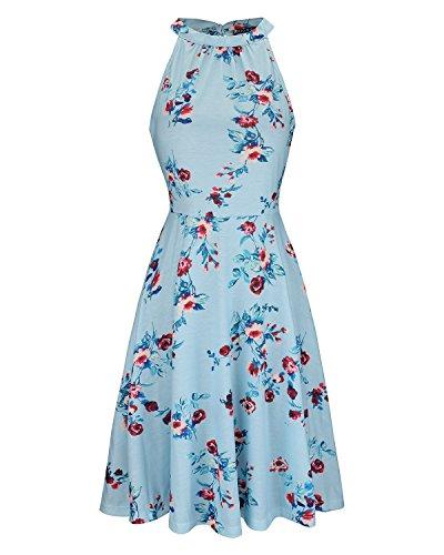 OUGES Women's Halter Neck Floral Summer Casual Sundress(Floral-13,XL)