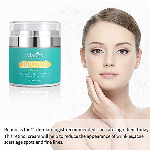 DEQUATE Crema Facial Hidratante MABOX, Fórmula Antienvejecimiento Pawaca Reduce Las Arrugas Y Líneas Finas Crema De Retinol Con Vitamina A D E, Con 2.5 De Retinol Activo, Ácido Hialurónico