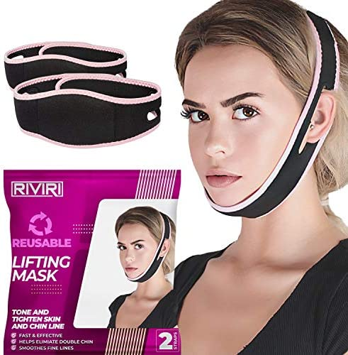 Pack of 2 Reusable Face Slimming Strap Pain Free Face Lifting Belt Double Chin Reducer V Line product image