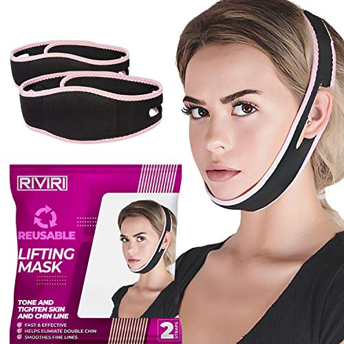 Pack of 2 Reusable Face Slimming Chin Strap, Snore Stopper face Lift and Slimmer Belt, Double Chin Reducer V Line Lifting Mask for Sagging Face and Chin, Anti Snoring solution for cpap users - Unisex