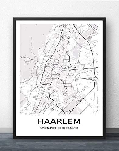 ZWXDMY Impresión De Lienzo,La Ciudad De Haarlem, Holanda Mapa Texto Minimalista En Blanco Y Negro De Impresión De Póster Lienzo Abstracto Pintura Mural Estudio Cafe Oficina Decoracion,70×100Cm.