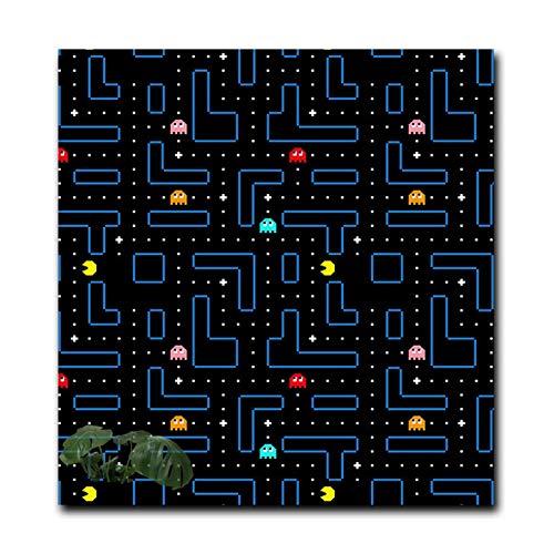 """Juego Pac-Man Pintura en lienzo Carteles e impresiones nórdicos Cuadros artísticos de pared modernos Sala de estar Decoración para el hogar-50x50 cm / 19.7 """"x 19.7"""" Sin marco"""