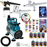3 Master Airbrush Professional Acrylic Paint Airbrushing System Kit with...
