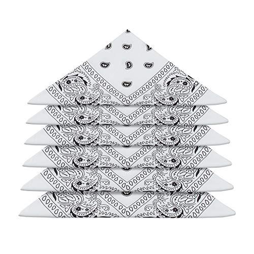 ZWOOS 6er Set Bandana Baumwolle Halstuch Bindetuch Baumwolle Haar Schal Ansatz Handgelenk Verpackungs Band Kopf Bindung, Unisex Mode-Accessoires(55 x 55 cm) (Weiß)