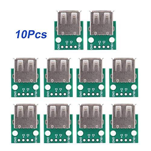 10 Stücke USB Typ A Breakout Board Weibliche USB DIP Adapter 2,54mm Pitch Header Adapterstecker DIP
