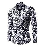 N\P camisa floral de manga larga de los hombres de la impresión del cuerpo completo del verano de la solapa
