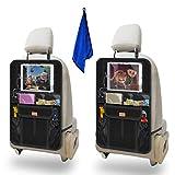 Rückenlehnenschutz Auto, AEMIAO 2 Stück Auto Rücksitz-Organizer für Kinder, Wasserdicht Rücksitzschoner Autositz-Schoner, Autositzschoner Kinder mit iPad-Tablet-Fach bis zu 12.9' (2 Pack)