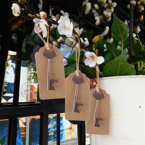 Mxtech Abrebotellas con Llave Vintage Abridor de Botellas con Tarjeta de Etiqueta, abridor de Botellas en Forma de Llave de Regalo para Invitados de Boda, Mini(50pcs+Hemp Rope+Card)