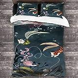 Juego de ropa de cama de 3 piezas, diseño de princesa de gato, 218 x 177 cm, juego de cama de moda Queen con 2 fundas de almohada brillantes para hotel de niños