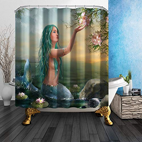 FGHJK Feen Meerjungfrau Stoff Möbeldekoration Duschvorhang wasserdicht 180x180CM