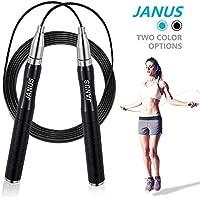 Janus Adjustable Length Self-Locking Steel Cable Skipping Speed Jump Rope (Black or Blue)